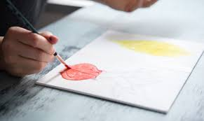 then paint in the shapes as if it were your own diy paint by numbers piece this is an easy method with monochromatic palettes or can be used with a variety