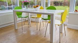 4 6 seater white gloss dining table and coloured dining chairs