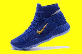 nike basketball shoes 2017. nike react hyperdunk 2017 flyknit blue gold men\u0027s basketball shoes