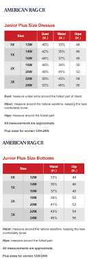 Prototypical American Rag Plus Size Chart 2019