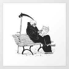 grim reaper reading newspaper cartoon