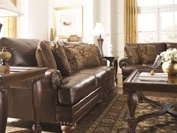Living Room Antique Furniture Ashley Brown Leather Durablend Antique 4pc Sofa Package By Ashley