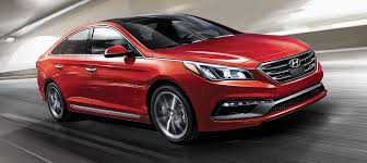 hyundai sonata 2015 exterior. exterior action photo of red hyundai sonata 2017 four door sedan using cruise control 2015