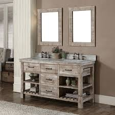rustic double sink vanity. Rustic Style Double Sink Bathroom Vanity And Matching Wall Mirrors In