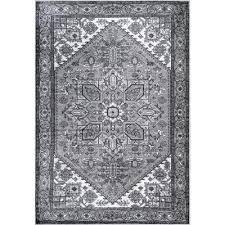 transitional medallion sara gray 5 ft x 8 ft area rug