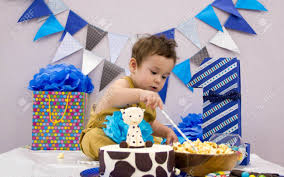 Infant Boys First Birthday Cake Smash Adorable Smashing Cake Stock