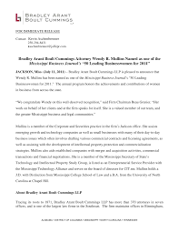 """Bradley Arant Boult Cummings Attorney Wendy R. Mullins Named as one of the  Mississippi Business Journal's """"50 Leading Busine"""