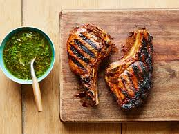 grilled pork chops with roasted garlic