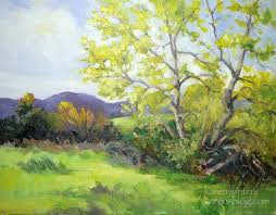 california sycamore springtime landscape painting