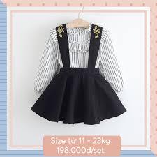 Quần áo trẻ em bé gái, Set rời váy yếm đen & áo sọc trắng Kate 11-23kg_sọc  đen trắng_sọc_Set váy áo