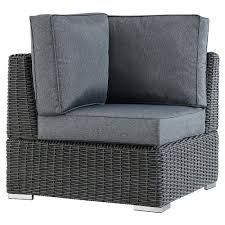 Riviera Pointe Wicker Patio Corner Chair with Cushions - Charcoal/Grey -  Inspire Q