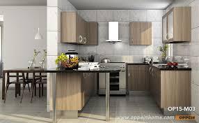 contemporary u shaped wood grain melamine kitchen cabinet op15 m03