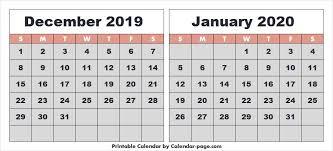 Free Printable December 2019 January 2020 Calendar Word Download