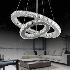 3 ring led modern crystal chandelier ceiling pendant lighting