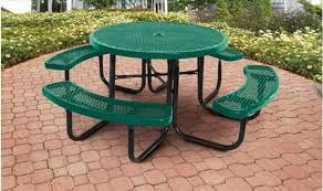 green supersaver commercial round picnic tables