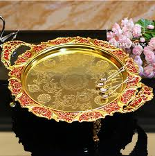 Decorative Serving Trays With Handles 100cm round gold red embossed metal tray storage tray with handle 67