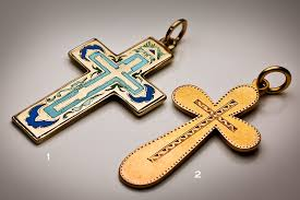 19th century antique russian gold cross pendants