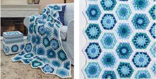 Hexagon Crochet Pattern Inspiration Hexagon Blues Crocheted Throw [FREE Crochet Pattern]