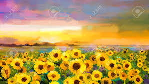oil painting yellow golden sunflower daisy flowers in fields sunset meadow landscape with