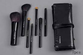 kit brush makeup wool brand professional piece leather brushes mac 7 case cosmetics face
