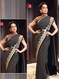 New Bollywood Designer Sarees Kangana Ranaut Black Cotton Bollywood Designer Saree