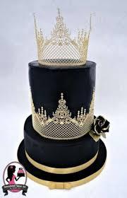 black and gold wedding cake by sensational sugar art by sarah lou