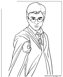Small Picture harry potter holding magic wand Coloring pages Printable