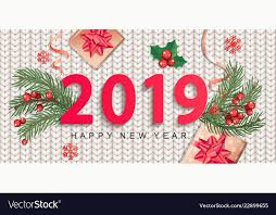 2019 New Year Greeting Card On Knitted Background Vector Image