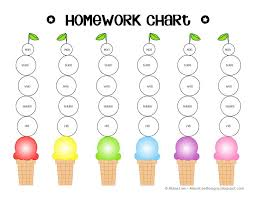 Homework Chart Sticker Chart Printable Reward Charts