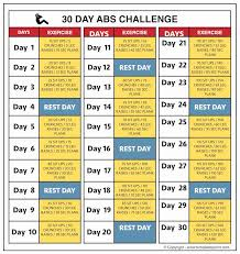 30 Day Abs Challenge Chart Before And After Results Abs
