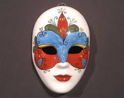 Decorative Face Masks Wall Mask Decor Clay Art Mask Wall Hanging Hand Painted Mask 17