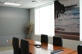 this conference room has both a triple band fabric wall finishing as well as a 5 series acoustic wall panel with a custom printed photograph from a local