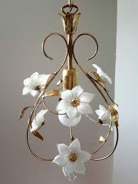 art nouveau style chandelier gold leaf and murano glass italy ca