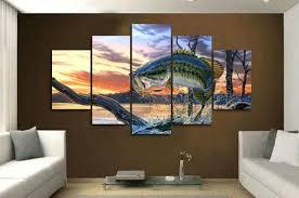 jumping fish 5 panel canvas art set wall art for men
