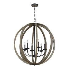metal and wood chandelier. W. 6-Light Weathered Oak Wood And Antique Forged Metal Chandelier 6