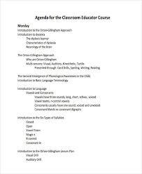 classroom course agenda example