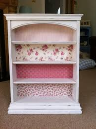 pink shabby chic furniture. Upcylced Bookshelf With Shabby Chic Floral Fabrics. #shabbychicdresserscolors Pink Furniture C