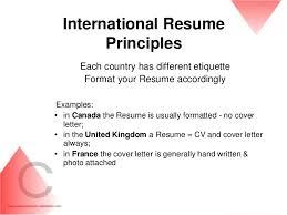 CV / Resume writing / Career development ... 35. International Resume ...