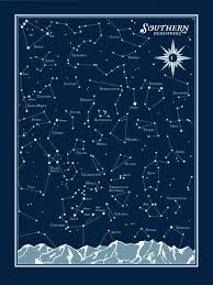 Star Charts For Southern Hemisphere Southern Hemisphere Star Chart Serigraph By Brainstorm
