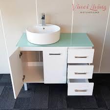 alto 1000mm freestanding bathroom vanity unit aqua glass top round white ceramic cylinder basin 3