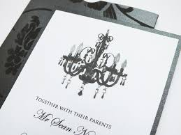 chandelier design wedding invitation