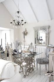 shabby chic dining sets. 39 Amazing Shabby Chic Dining Room Design: Design With White Wooden Wall Beams And Chandelier Glass Table Sets
