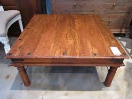 rustic indian style rosewood coffee table meval metal accents square vintage living room furniture circle botton