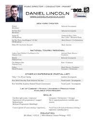 Daniel M Lincoln Musical Director Resume