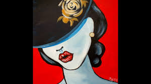 pop art girl with a hat fashion acrylic painting tutorial for beginners