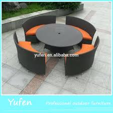 space saving patio furniture. Garden Rattan Round Dining Table Set For Space Saving Outdoor Furniture Creative Patio