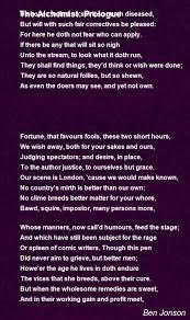 the alchemist prologue poem by ben jonson poem hunter