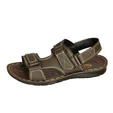 kids leather sandals brown