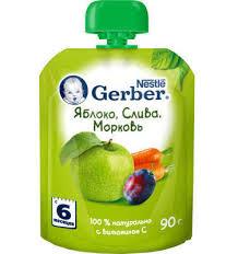 Купить <b>Пюре фруктовое Gerber</b> Яблоко слива морковь с 6 мес, 90 ...