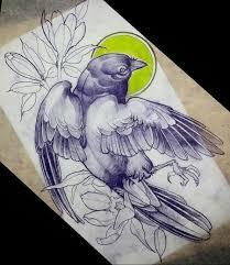 эскиз тату с птицей и цветами всячина эскиз птицы татуировки и